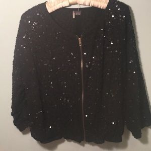 Anthropologie Black Sparkle Top